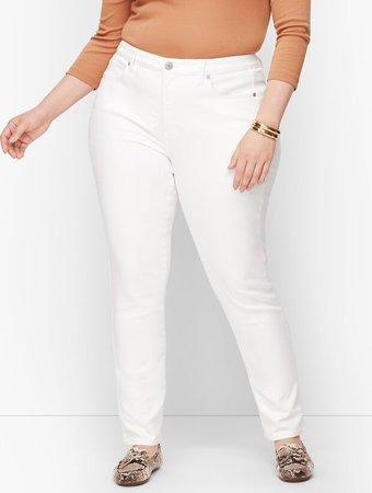 High-Waist Straight-Leg Jeans - White | Talbots