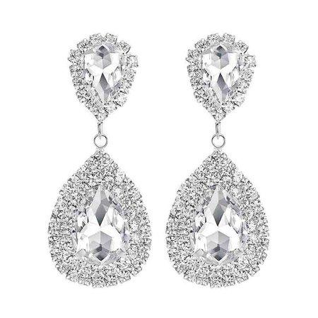 Minmin 6 Colors Teardrop Crystal Long Earrings Silver Rhinestone Bridal Drop Earrings for Women Party Wedding Jewelry EH003-in Drop Earrings from Jewelry & Accessories on Aliexpress.com   Alibaba Group