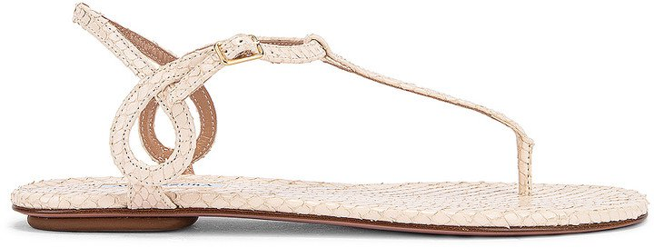 Almost Bare Snake Print Sandal Flat in Cream | FWRD