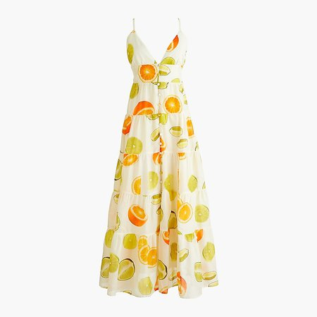 J.Crew: Edie Parker® X J.Crew Button-front Tiered Maxi Dress In Limes And Oranges For Women white