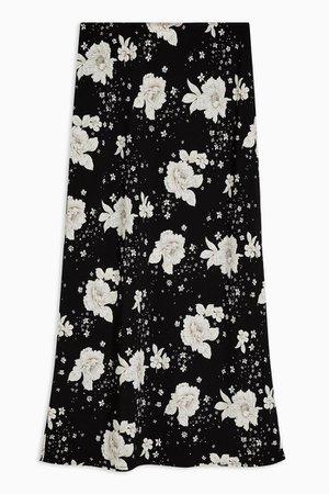 Black and White Floral Print Bias Midi Skirt | Topshop
