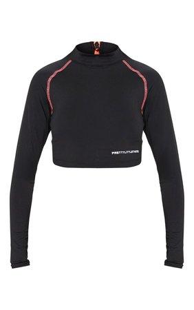 PRETTYLITTLETHING Long Sleeve Black Zip Back Gym Top | PrettyLittleThing