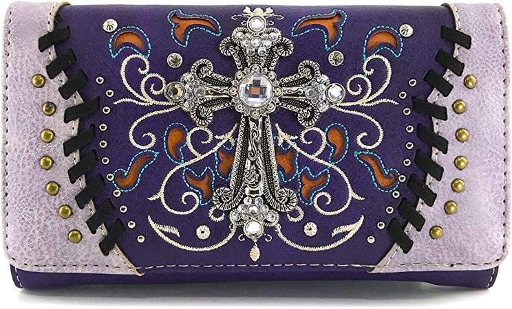 Zelris Spring Bloom Western Cross Women Crossbody Wrist Trifold Wallet (Purple)