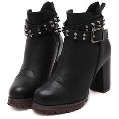 Black Buckle Strap Studded High Heeled Boots (1.765 RUB) ❤ liked on Polyvore featuring shoes, boots, black, high heel shoes, rounded toe boots, black shoes, studded high heel boots and black studded boots