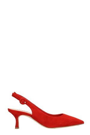 Julie Dee Red Suede Leather Pumps