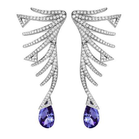Akillis Cruella Earrings 18 Karat White Gold Tanzanite White Diamonds For Sale at 1stDibs