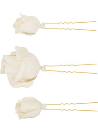Jennifer Behr Rosalie Flower Hair Pin Set - Farfetch