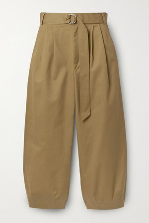 Myriam Cropped Pleated Cotton-blend Twill Tapered Pants - Army green