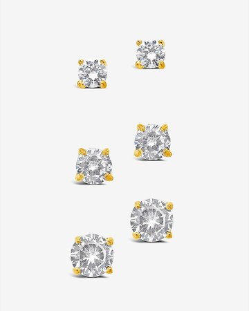 Sterling Forever Cubic Zirconia Stud Earring Boxed Set