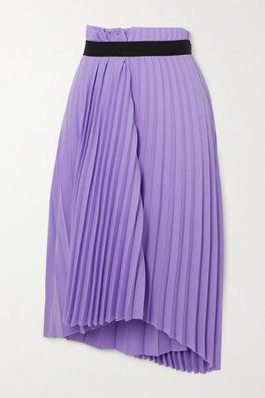 Lilac Asymmetric pleated crepe midi skirt | Balenciaga | NET-A-PORTER
