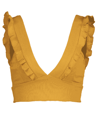 Ribbed Ruffles Tank Top BEE YELLOW: Tank Tops S | ZAFUL