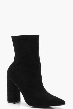 Wide Fit Block Heel Sock Boots   Boohoo