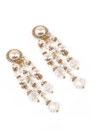 Alessandra Rich Pearl Cascade Clip On Earrings