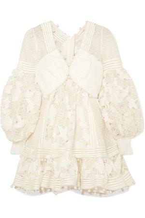 Zimmermann | Pompom-embellished paneled cotton and silk-blend guipure lace mini dress | NET-A-PORTER.COM