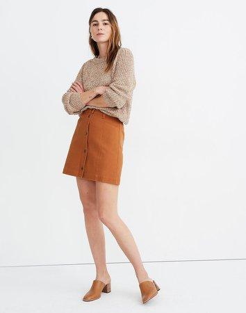 Button-Front A-Line Pocket Mini Skirt