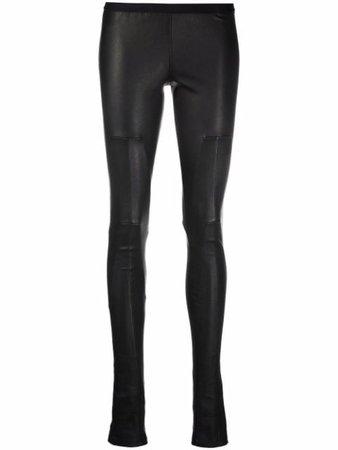 Rick Owens mid-rise leather leggings - FARFETCH