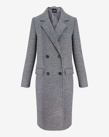 Wool-blend Braided Rib Double Breasted Coat | Express