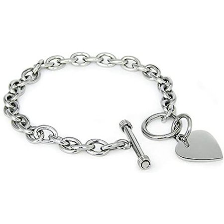 """Amazon.com: Sterling Silver Rose Gold Heart Tag Bracelet, 7.5"""": Jewelry"""