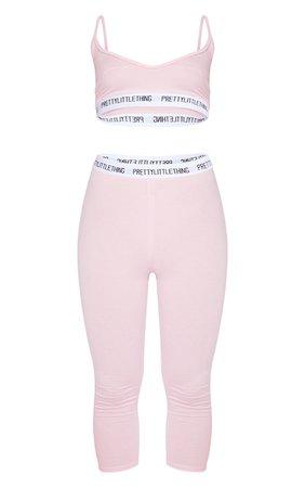 Plt Baby Pink Bralet And Crop Legging Set | PrettyLittleThing USA