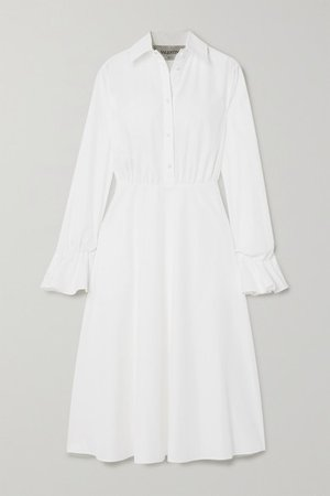 Cotton-blend Poplin Midi Dress - White
