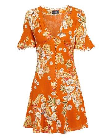 Orange Floral Godet Mini Dress