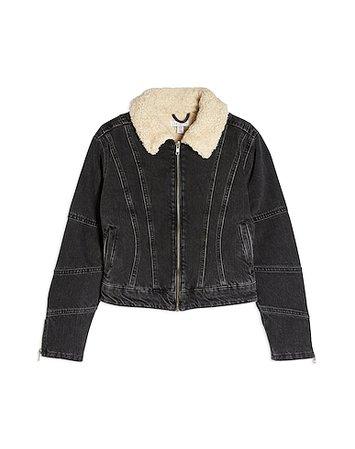 Jean Μπουφάν Topshop Idol Washed Black Borg Lined Denim Jacket - Γυναίκα - Jeans Μπουφάν Topshop στο YOOX - 42774066NB