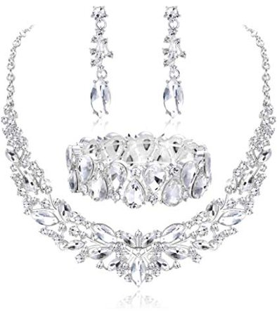 Amazon.com: ORAZIO Rhinestone Wedding Necklace and Earrings Jewelry Sets for Women with Bridal Bracelet Necklace Set Bridesmaid Jewelry: Jewelry