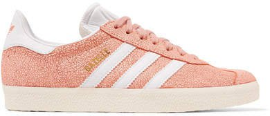 Gazelle Cracked-suede Sneakers - Peach