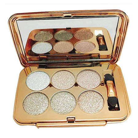 Amazon.com: Glitter Eyeshadow Palette,6 Colors Sparkle Eye Shadow Shimmer Ultra Long Lasting Makeup Palette Set Gold-Highly Pigmented (Type-05): Clothing