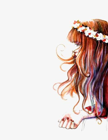 Long-haired Girl, Hand Painted Girls, Wreath, Girl Illustration PNG Image and Clipart for Free Download