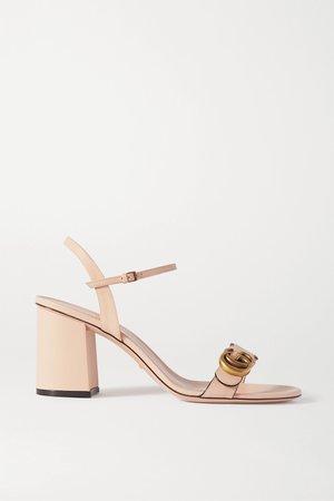 Neutral Marmont logo-embellished leather sandals | Gucci | NET-A-PORTER