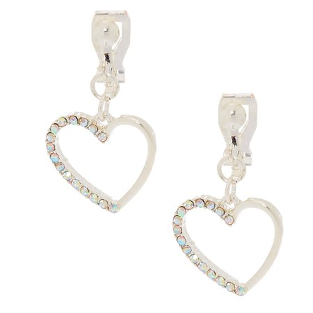 """Silver 1"""" Heart Clip On Drop Earrings 