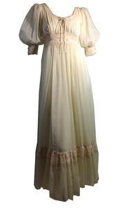 Peasant Princess Puffed Sleeve Laced Up Gunne Sax Dress circa 1970s – Dorothea's Closet Vintage
