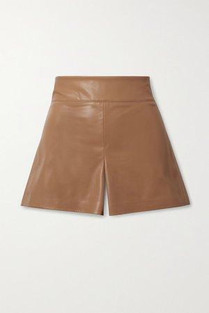 Alice Olivia - Donald Vegan Stretch-leather Shorts - Camel