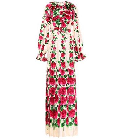 Floral-printed silk twill dress