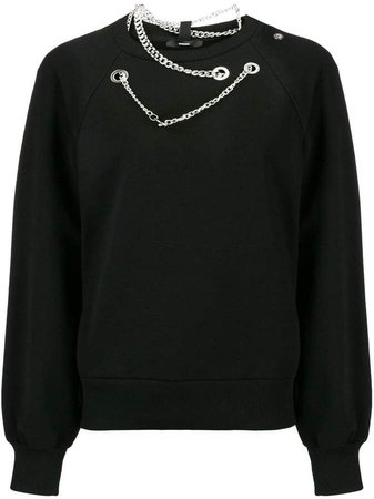 silver eyelet and chain sweatshirt