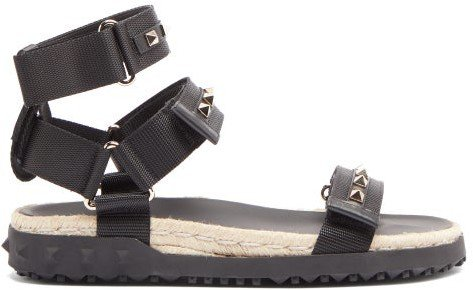 Rockstud Canvas And Jute Sandals - Black