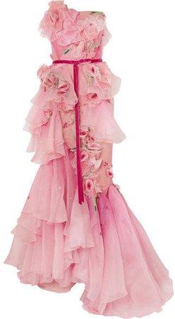 Strapless Appliqué Ombré Organza Gown - Pink