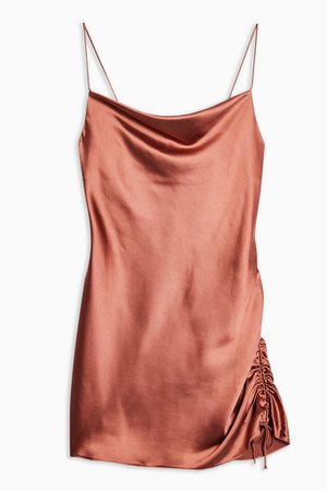 Ruched Mini Satin Slip Dress | Topshop