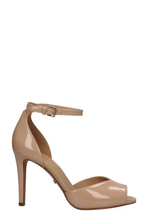 Michael Kors Beige Patent Leather Cambria Sandals