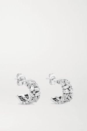 White gold 18-karat white gold diamond earrings | Suzanne Kalan | NET-A-PORTER