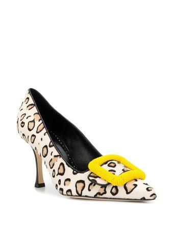 Manolo Blahnik buckle-detail Leopard Pumps - Farfetch