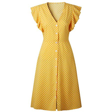 Amazon yellow polka dotted dress