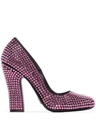 Pink Prada Crystal Embellished 105Mm Pumps | Farfetch.com