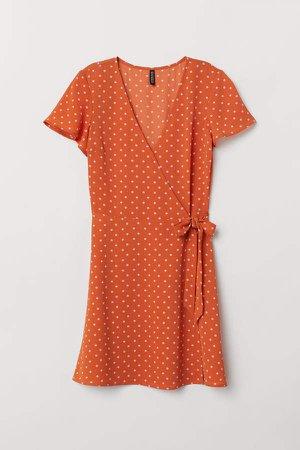 Patterned Wrap-front Dress - Orange