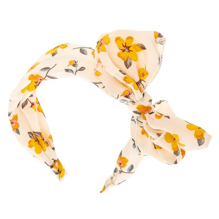 Yellow Flower Bow Headband - White | Claire's US