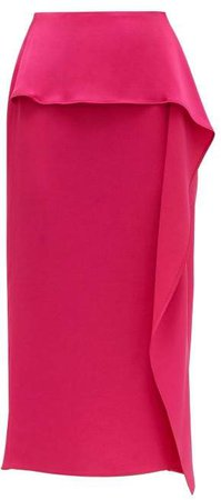 Papia Envers Ruffle Trim Satin Pencil Skirt - Womens - Fuchsia