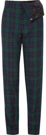 Asymmetric Plaid Twill Straight-leg Pants - Emerald