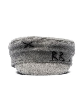 Ruslan Baginskiy grey logo-embroidered wool Baker Boy hat $299 - Buy Online - Mobile Friendly, Fast Delivery, Price