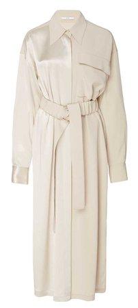 CO Cream Belted Midi Shirt Dress
